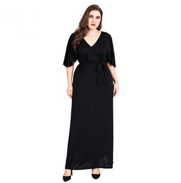 New Plus Size Women Black Shawl Sleeve Dress Solid Color V-Neck Sexy Long Maxi Dress Party Evening Summer Dresses