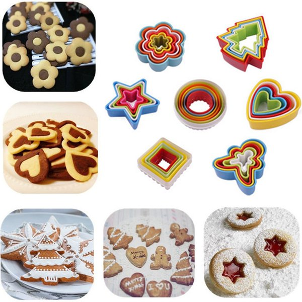 Factory Free Shipping Plastic Cookie Biscuit Cutters People Heart Flower Shape Cake Cutters Mold Cookie Plum Moulds Baking Decoration Tool