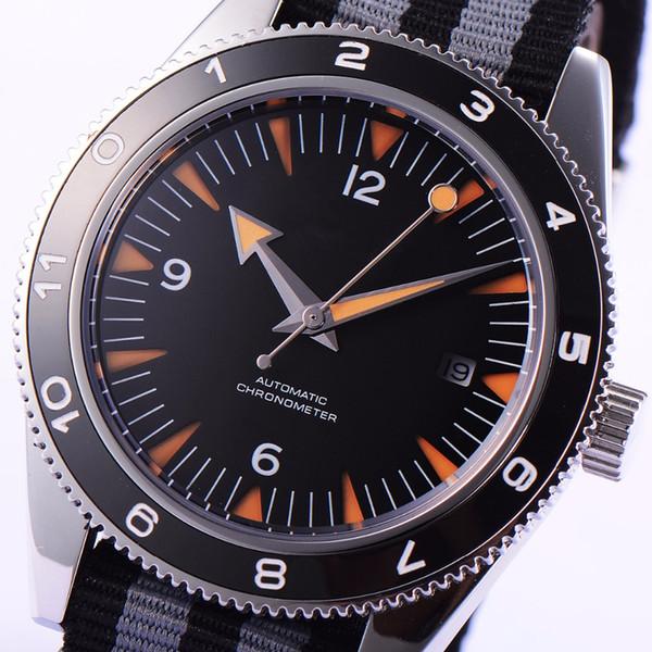 41mm debert 블랙 세라믹 mizota 사파이어 베젤 블랙 다이얼 자동 태엽 시계