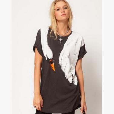 Sommer Frauen T-Shirts T-Shirts Fox Swan print Kurzärmeliges lockeres T-Shirt Dunkelblaue Rundhals-Shirts mit Rundhalsausschnitt und kurzen Ärmeln
