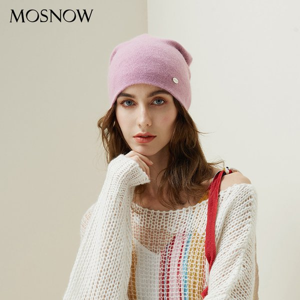 Winter Hats For Woman 2018 Beanies Rabbit Hair Knitted Hat Girls Autumn Female Beanie Warmer Bonnet Ladies Casual Cap 8 Color Y18110503