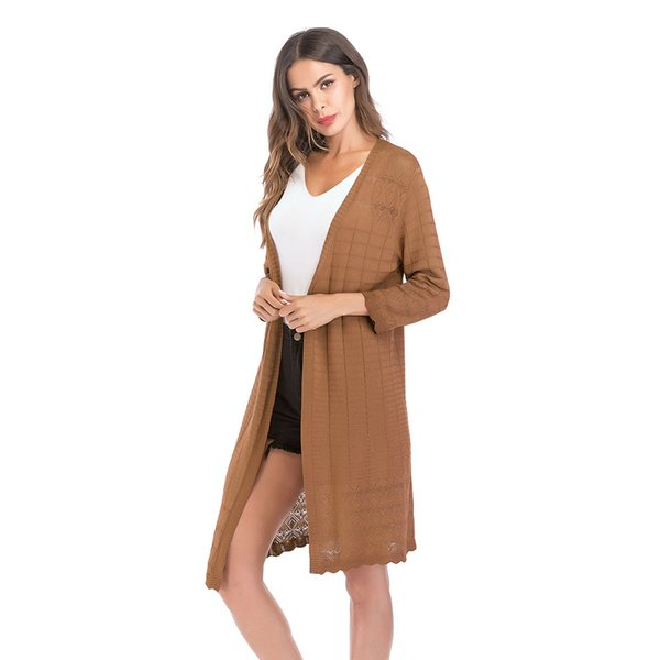 Wipalo Autunno Womens Maglione aperto anteriore leggero manica lunga Maxi Cardigan maglione lavorato a maglia signore Casual Outwear