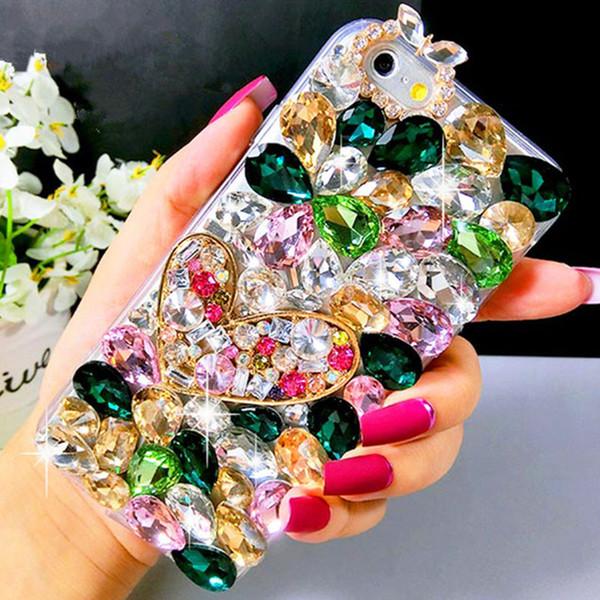 3D Bling Kristal Yumuşak Arka Kapak Için Samsung Galaxy S4 S5 S6 S7 kenar S8 S9 Artı Note4 5 8 Rhinestones En Kaliteli Telefon Kılıfları