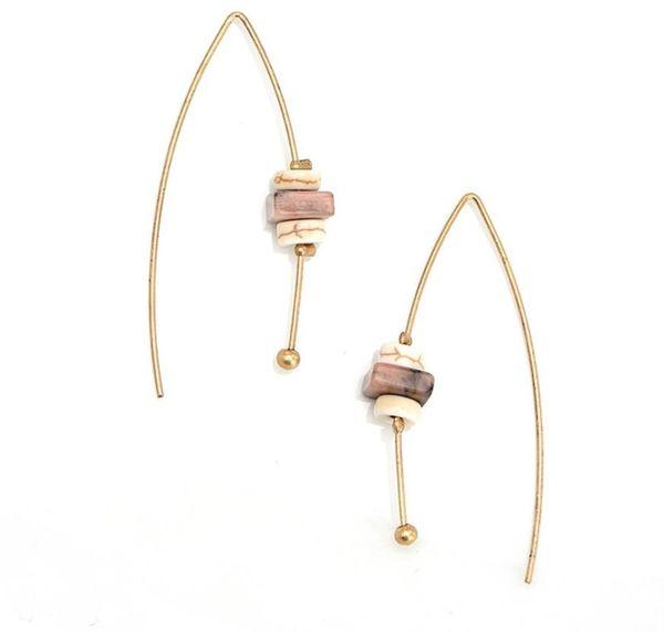 Fashion Earrings for Women Vintage Ladies Earings Female Stud Earrings Simple Korean Creative Natural Stone Earring Gold DIY Girls Earings