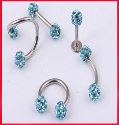 Shamballa piercing L36 free shipping 25pcs /lot mix5 style aqua crystal lip ring eyebrow ring nose ring body piercing package