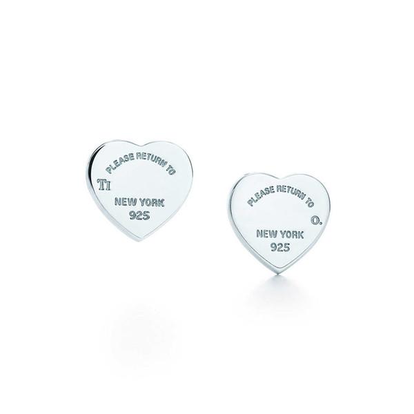Bayan Lüks Marka Takı 100% 925 Ayar Gümüş Aşk kalp Küpe Logosu Orijinal kutusu Kadın Kızlar Düğün Damızlık Küpe