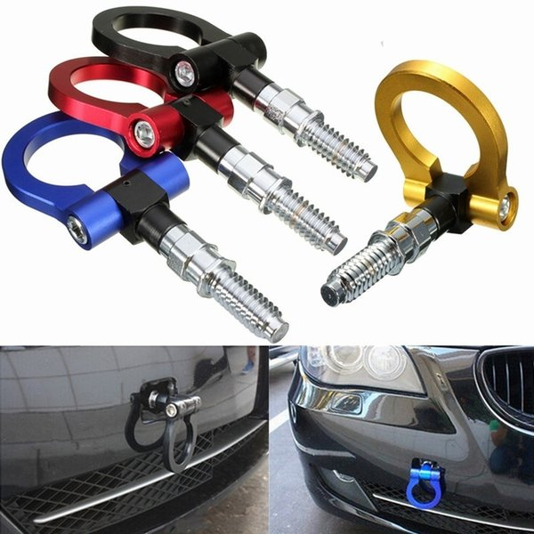 DHL 50PCS 4 Colors Aluminum European Model Car Auto Racing Tow Hook Towing Trailer Ring for Universal