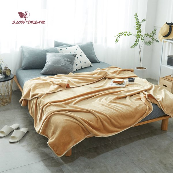 Slowdream Khaki Flanelldecke Throw Soft Print Winter Elegante Kuscheldecke Super Soft Schlaf Bett 6 Größe 1pcs