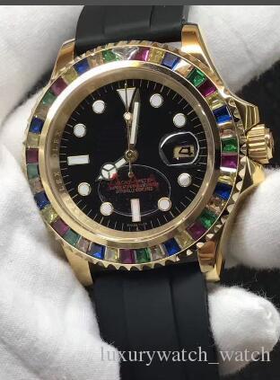 Venda quente De Luxo Relógio De Pulso De Borracha Pulseira 40 MM Arco Íris Relógio de Diamante Relógios Dos Homens Automáticos Nova Chegada 3 Estilos