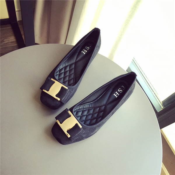 2018 new European and American wind is comfortable heels suede bow square toe shoes lighter shoes thick with women's shoes big yards