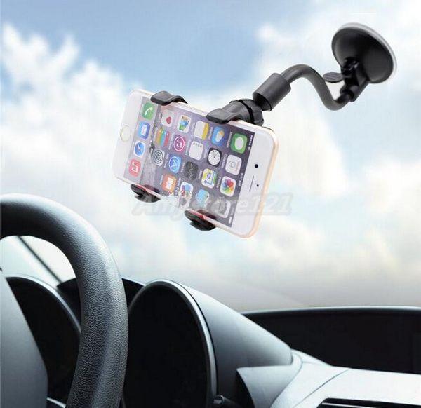 Araç Montaj Uzun Kol Evrensel Cam Dashboard Cep Telefonu Araç Tutucu Güçlü Vantuz ile 360 Derece Rotasyon Araç Tutucu X kelepçe
