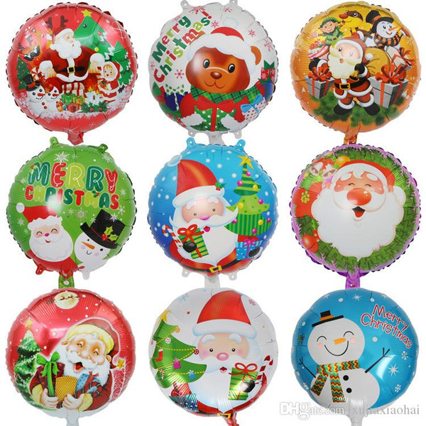 Christmas Inflatable.18 Inch Round Christmas Inflatable Balloon Festival Decorative Aluminum Foil Balloon Santa Claus Snowman Christmas Tree Design Helium Balloon Packages