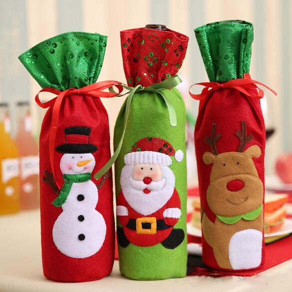 Champagne Wine Bottle Bags Covers Embroidery Design Santa Claus Snowman Deer Christmas Decoration Bottle Cover Clothes Kitchen Decoration