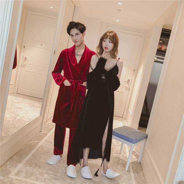 2018 New Gold Flannel Bath Robes Solid Autumn Thin Robe Couple Bathrobe Women Men Warm Velvet Bath Robe