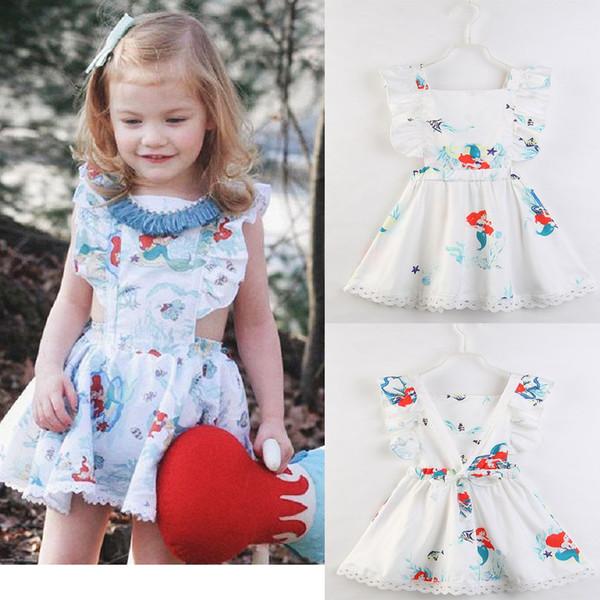Baby Girl Printing Mermaid Dress Summer Party Dresses Prom Little Girls Patchwork Princess Dress