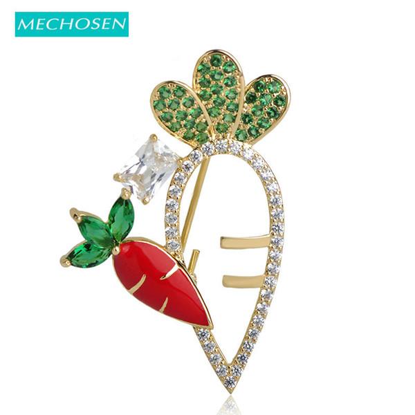Venda Por Atacado Vivid rabanete vermelho broches para as mulheres Prong Setting Green Zirconia Esmalte Broche Pinos Dress Hat Scarf Clips Decorações