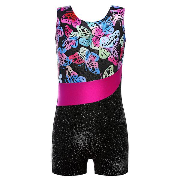 Girls Kid Gymnastic Leotards Ballet Dance Costumes Printing Sleeveless Leotards Biketard Athletic Loetard Ballet Tutu Dancewear