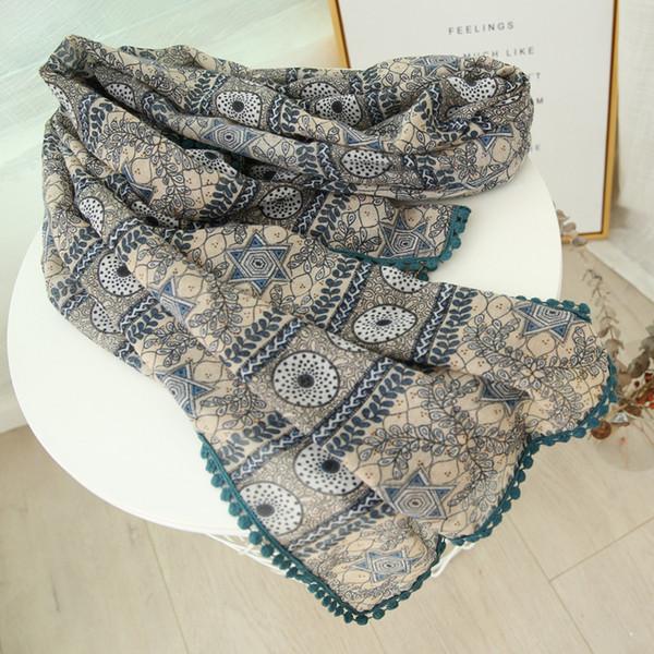 Guttavalli Women Dots Stars Pom Poms Long Shawl Female Chevron Cotton Wraps Summer Vintage Stripes Leaf Soft Geometric Scarves