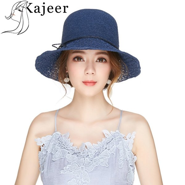 Kajeer 2018 Summer Beach Sun Hats for Women Girls Raffia Navy Colors Caps Adjustable Straw Hat UV Protection Party Cap