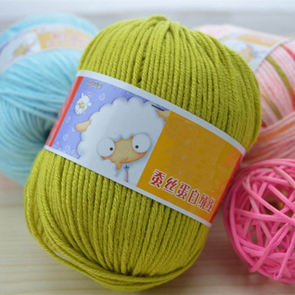 10balls=500g Wholesale Soft Silk Fiber Cashmere Yarns For Kids Eco-friendly Dyed Baby Wool Yarn For Knitting Yarn
