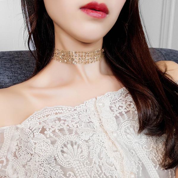 KEJIALAI Collana Donna Oro Sexy Invisibile Catena Della Clavicola Collana Donna Ornamento Netto Filato Moda Paillettes Collane N3715