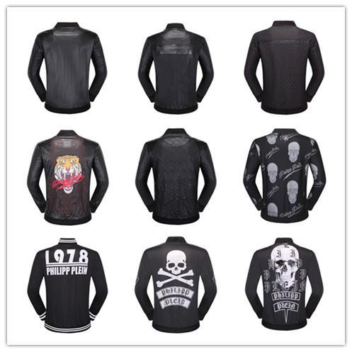 DHL Top Quality Brand Men's PU Faux Leather Jackets Coats Skull Heads Outerwear winter Slim For man Zipper US dollar Designer M-XXXL windpr