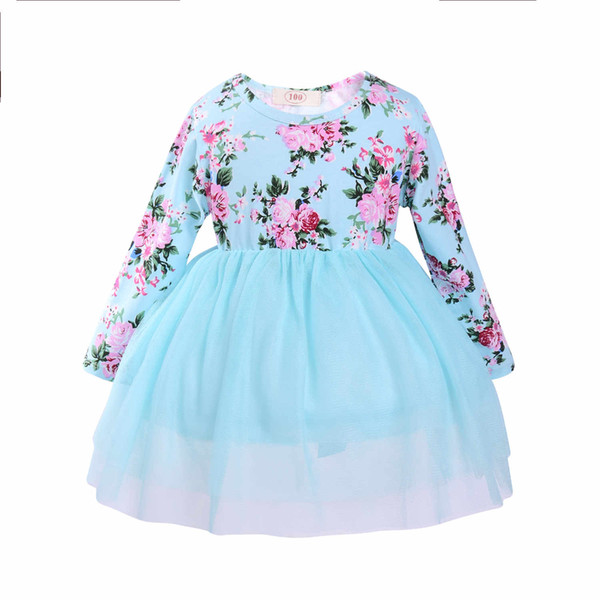 Mikrdoo Floral Princess Dress Kids Baby Girl Long Sleeve Tutu Tule Dresses First Birthday Gift Formal Wedding Party Wear Clothes