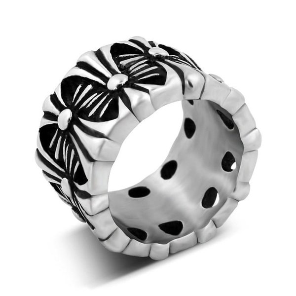 whole sale2018 New Hot Fashion Cross Shaped Titanium Ring Hipster Punk Style Vintage Hollow Cross Flowers Ring For Men 6C0258