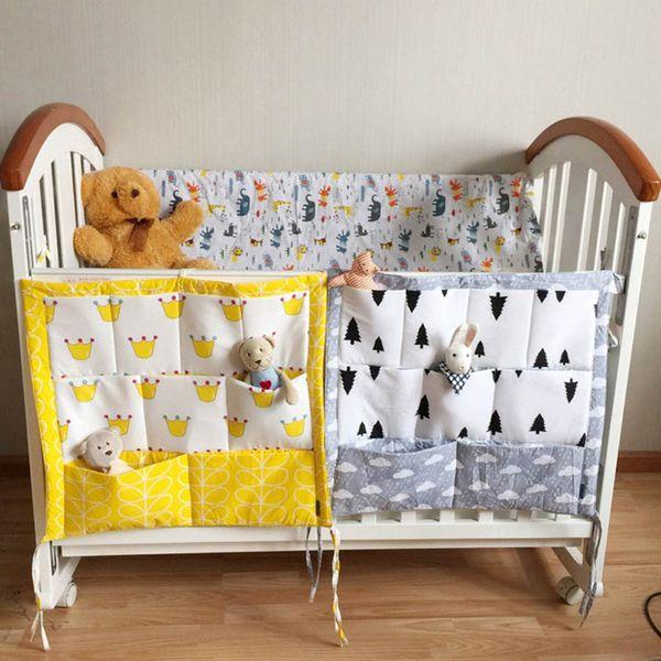 Baby Cot Bed Brand Baby Cotton Crib Organizer Muslin Tree Bed Hanging Storage Bag 60*50cm Toy Diaper Pocket for Crib Bedding Set