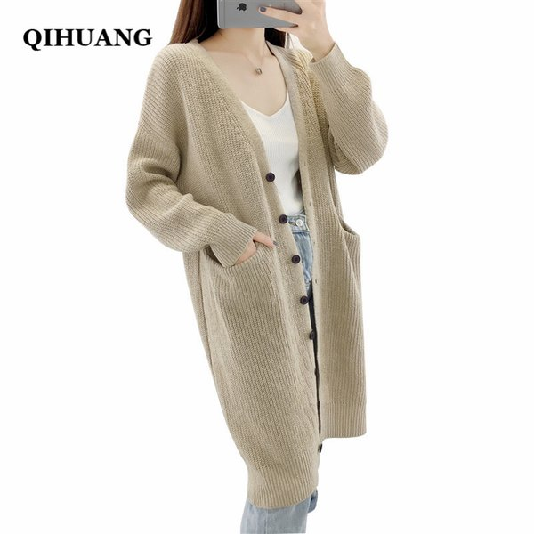 QIHUANG New Long Cardigan Women Sweater 2018 Autumn Winter Warm Knit Casual Single Breasted Loose Women Cardigan Oversized Coat