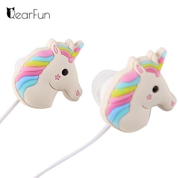 Nette Unicorns-Karikatur-Kopfhörer buntes Regenbogen-Pferd In-Ohr Kopfhörer 3.5mm Ohrhörer mit Mic für Xiaomi Smartphone scherzt Geschenke