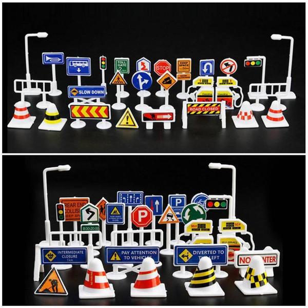 28 pezzi Accessori per giocattoli auto Segnaletica stradale per bambini Giochi per bambini Impara il gioco 2sw0628