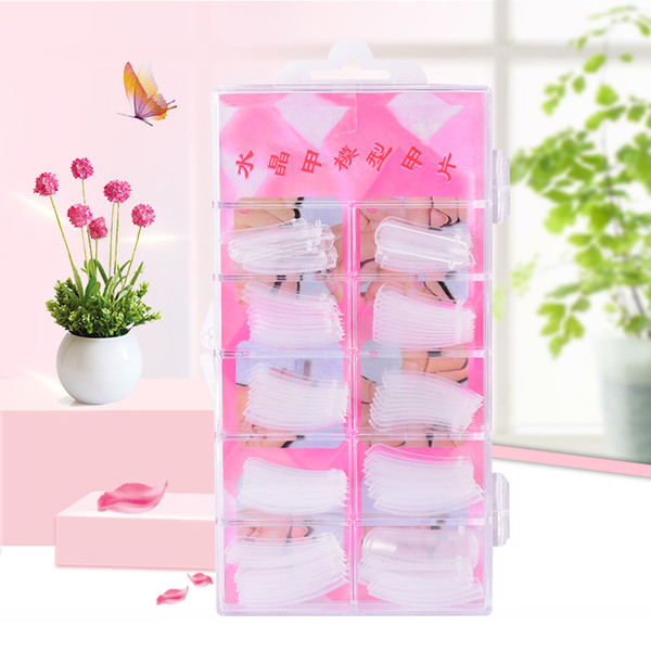 100pcs Clear Jelly Poly Gel False Nail Tips Model Form for Full Cover UV GEL Acrylic Nail Art Fake Nails Extension Tools
