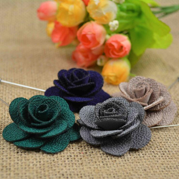 Hot Lapel Flower Man Woman Camellia Handmade Boutonniere Stick Brooch Pin Men's Accessories in 16 Colors D0040