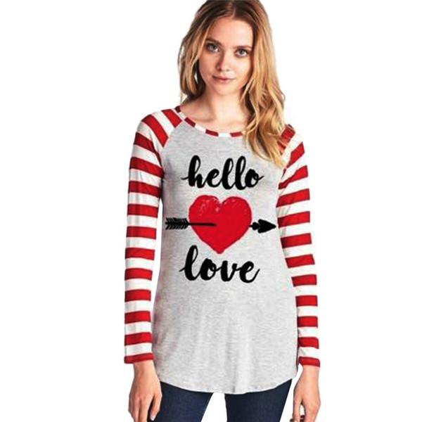 2018 Valentinstag T-Shirt Liebe Küsse Streifen Langarm t shirts Casual Pullover Top Hause Pyjamas versandkostenfrei