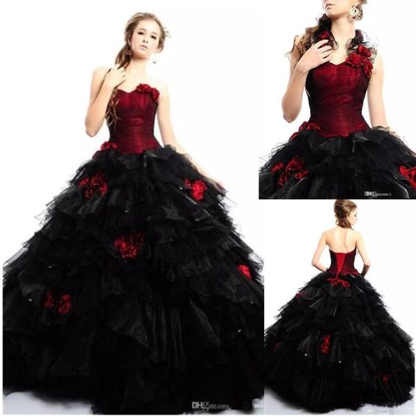 2018 Vintage Burgund Gothic Ballkleid Brautkleider mit trägerlosen Blumen Schwarz und Rot Tüll Halloween Partykleid Korsett Brautkleider
