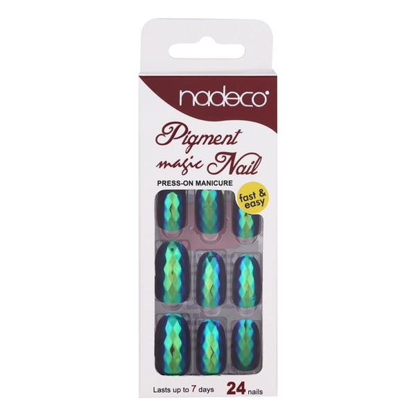 24 piezas de escamas de pescado puntas de uñas falsas espejo efecto de pigmento cromado gel UV herramientas de arte de uñas falsas