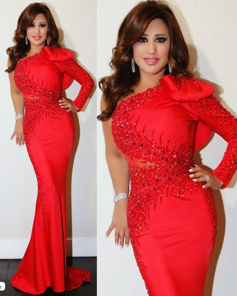 Elegant Arabic Celebrity Evening Dresses Red Mermaid one shoulder long sleeve formal prom gown beaded sequins hand make bow red carpet dress