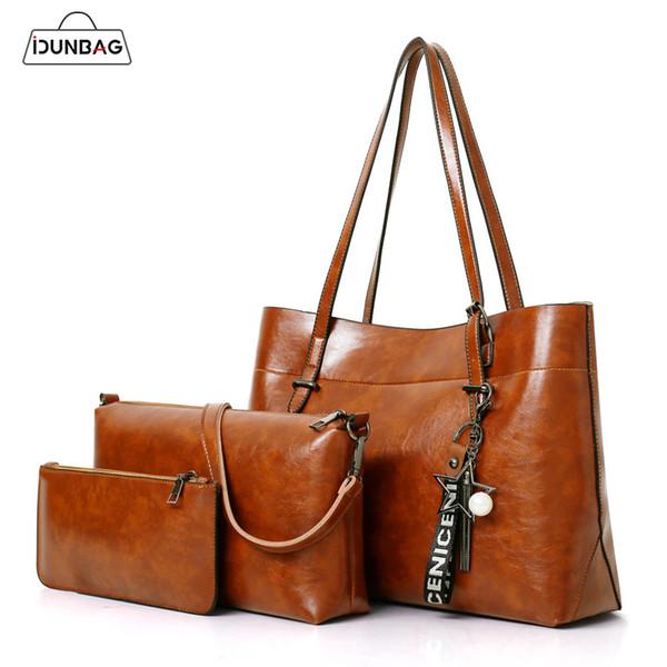 Öl Wachs Leder 3Pcs Frauen Handtaschen Sets große Kapazität Quaste Schulter Tote Taschen + Frauen Crossbody Messenger Bags + kleine Handtasche Sac