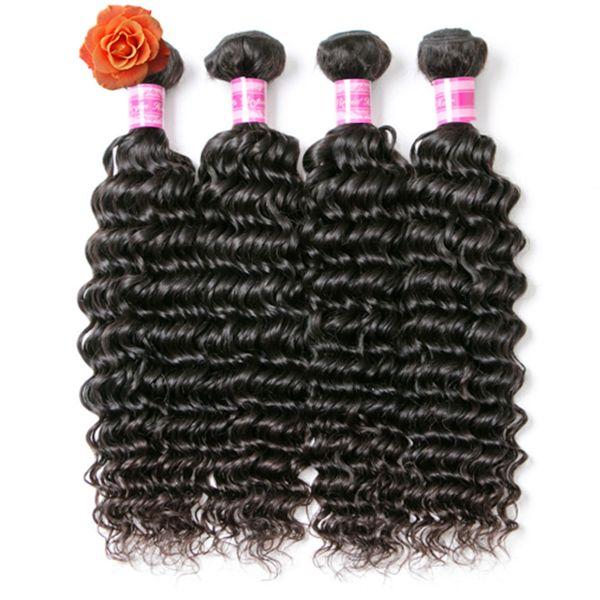 Brazilian Deep Wave Hair Bundles Remy 100% Human Hair Weaving 8-28 Inch Jet Black 100g/ Piece 3 Bundles 4 Bundles Deal