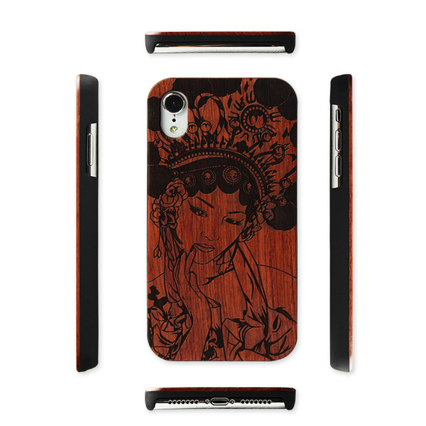 New Engraving Wood Phone Case For Iphone XR/XS/XSMAX/7PLUS Cover Natural Wooden Bamboo Cases For Samsung Galaxy S9/Note9/Note8/S8plus/S7
