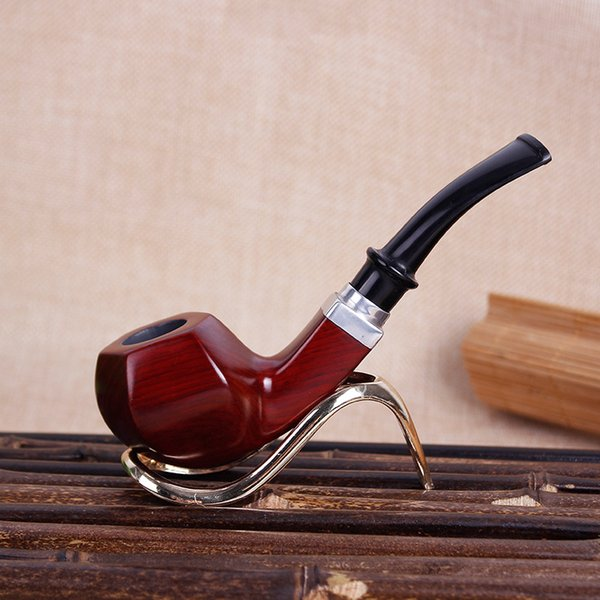 Red sandalwood pipe bending type bucket handle hand smoking tobacco shred hopper with 9mm filter mahogany wholesale