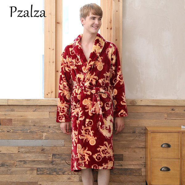 Chinese Print Dragon Luxury Sleeping Robe For Men Winter Men's Bathrobes Thick Warm Bathrobe Male Sleepwear Homewear Clothes