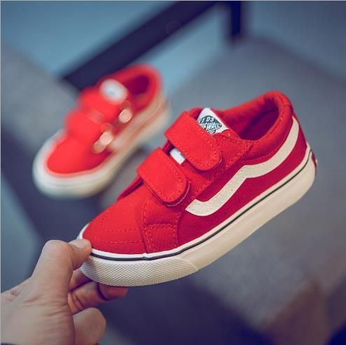 2019 new children s canvas white shoes men s and women s magic stickers casual shoes