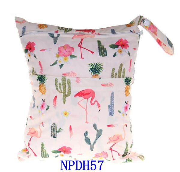 Animal impresso bebê com zíper saco de fraldas molhado / seco - impermeável molhado e seco pano fralda sacos Wet Swimsuit Bag WetBag 33 * 28 cm