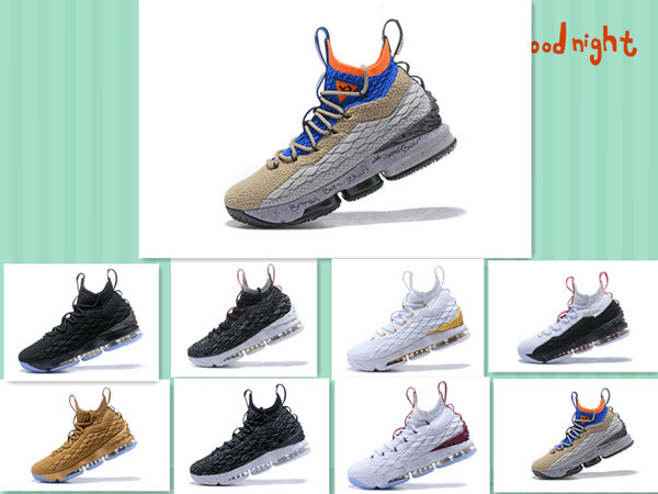 2017 New 15S XV mens Basketball Shoes ACG Color matching black white Bronze gold White wine red 15S XV trainers sports Sneakers Size 7-12..