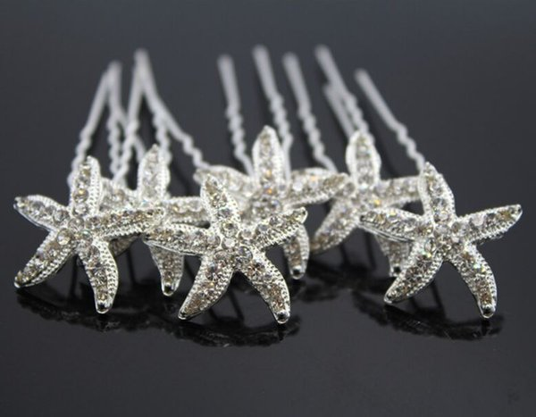 Bridal Wedding Hair Pins and Clips Rhinstone U Style Stick Women Hairpiece Starfish Hair Accessories Jewelry Prom Fashion Long Decerate zzh