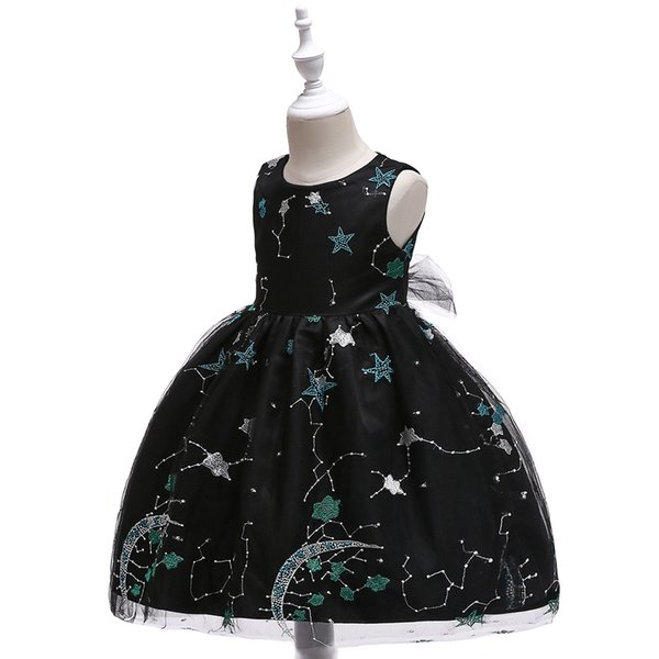 New embroidered starry night dress Star net gauze embroidery wedding princess dress Cultivate one's morality vest ball gown style