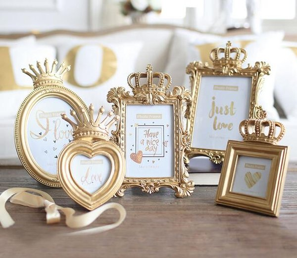 Desktop Frame Photo Home 1 Piece 5 Model Luxury Baroque Style Gold Crown Decor Creative Resin Picture Frame Gift for Friend