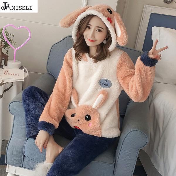 JRMISSLI Inverno Mulheres Conjuntos de Pijama Grosso Flanne Pijamas Bonito Dos Desenhos Animados do Pijama das Mulheres do Sexo Feminino Com Capuz Homewear Quente